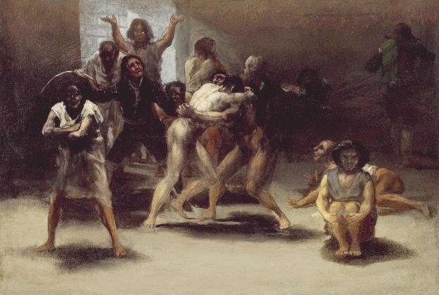 Франсиско де Гойя. Дворик сумасшедшего дома (фрагмент). 1794 Франсиско де Гойя. Дворик сумасшедшего дома (фрагмент). 1794